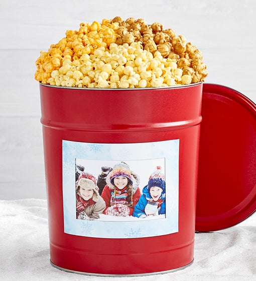 Simply Red Popcorn Tins with Holiday Magnet Photo Frame