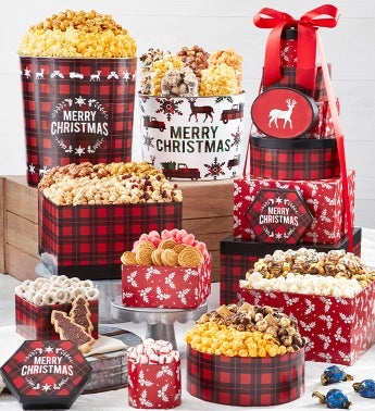 Very Merry Plaid 8-Tier Gift Tower with 2-Gallon  3 12-Gallon Popcorn Tins